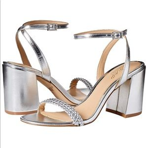 Jewel Badgley Mischka Suri Heeled Silver Sandal